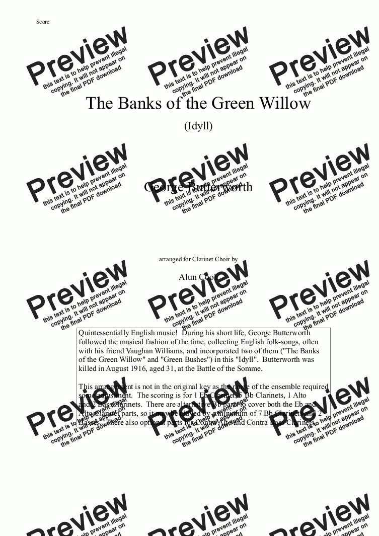 page one of The Banks of the Green Willow (Clarinet Choir)