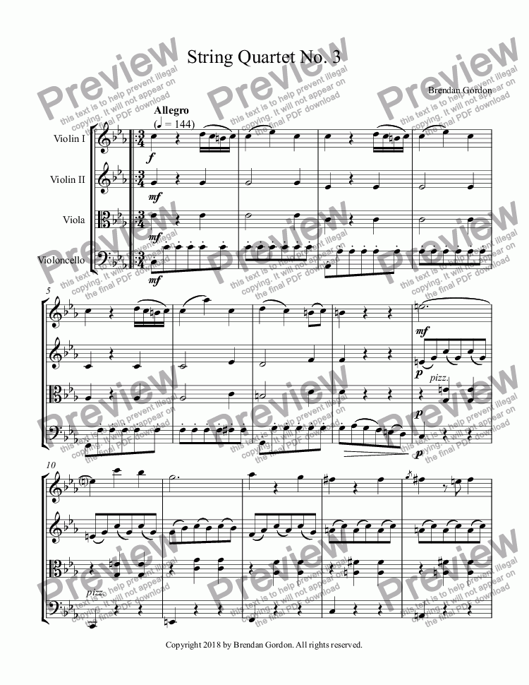 page one of String Quartet No. 3 in C Minor (1st mvt)