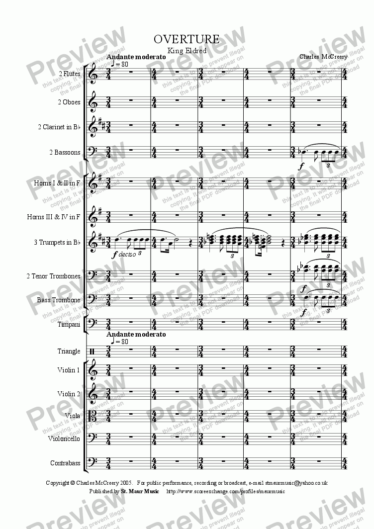 page one of Overture to 'King Eldred'