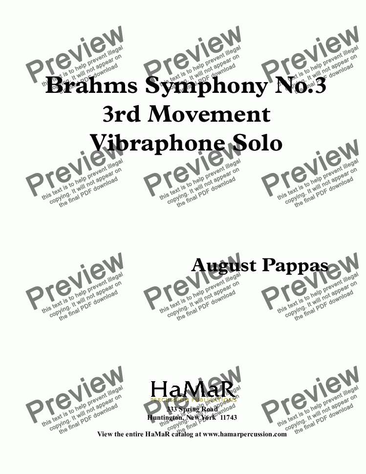 page one of Vibraphone Solo     Brahms Symphony No. 3        3rd Movement