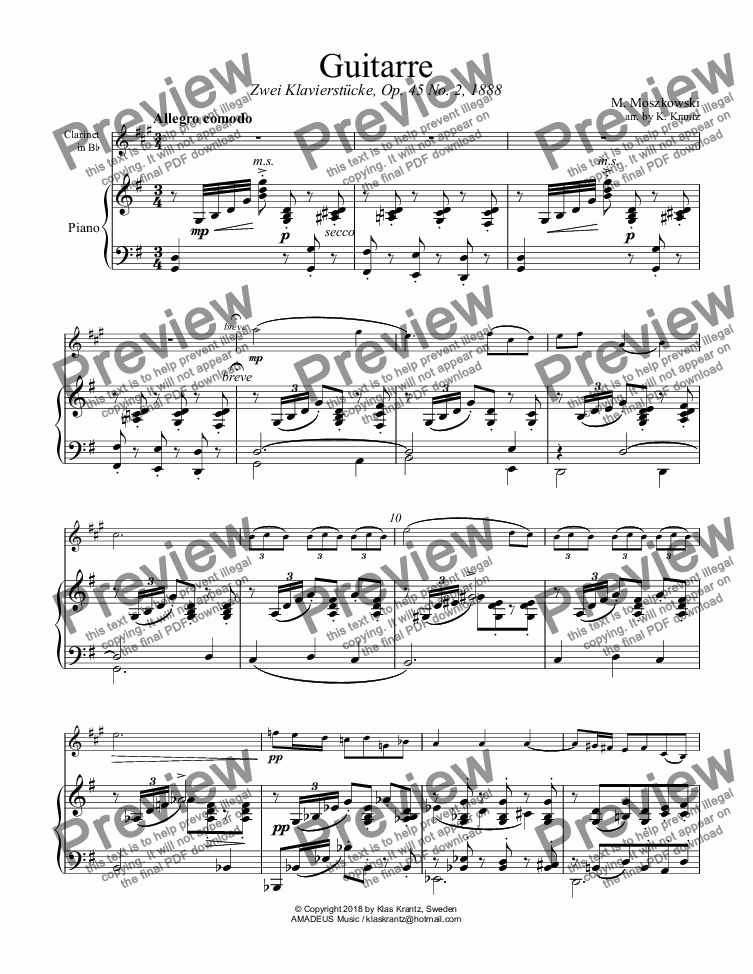 "page one of Guitarre Op. 45 No. 2 for ""easy"" clarinet in Bb and piano"