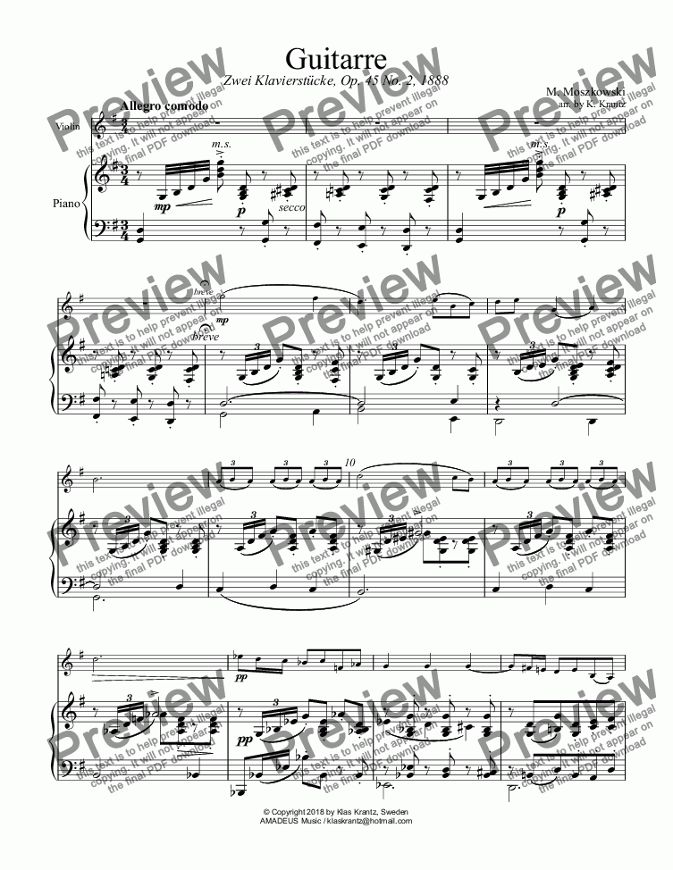 "page one of Guitarre Op. 45 No. 2 for ""easy"" violin and piano"