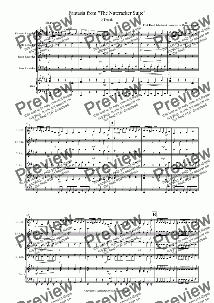 page one of Trepak (Fantasia from Nutcracker) for Recorder Quartet