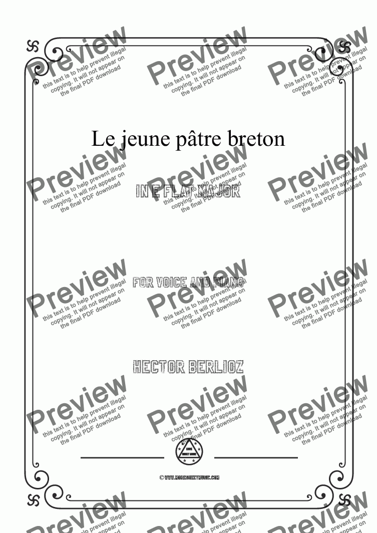 page one of Berlioz-Le jeune pâtre breton in E flat Major,for voice and piano