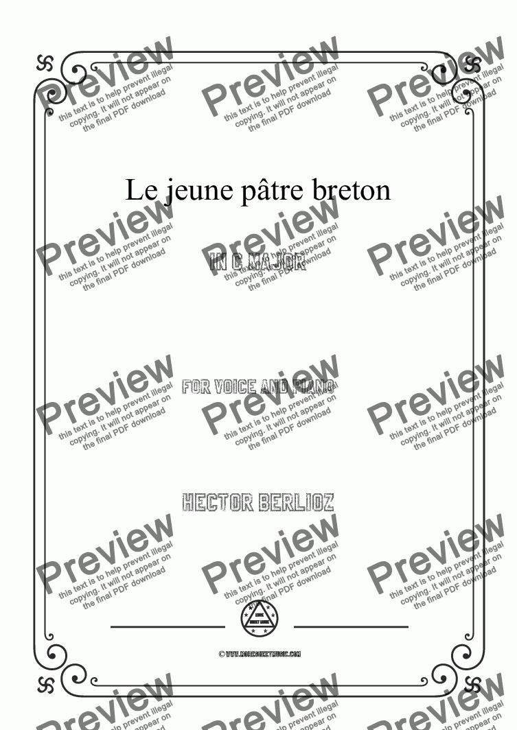 page one of Berlioz-Le jeune pâtre breton in C Major,for voice and piano