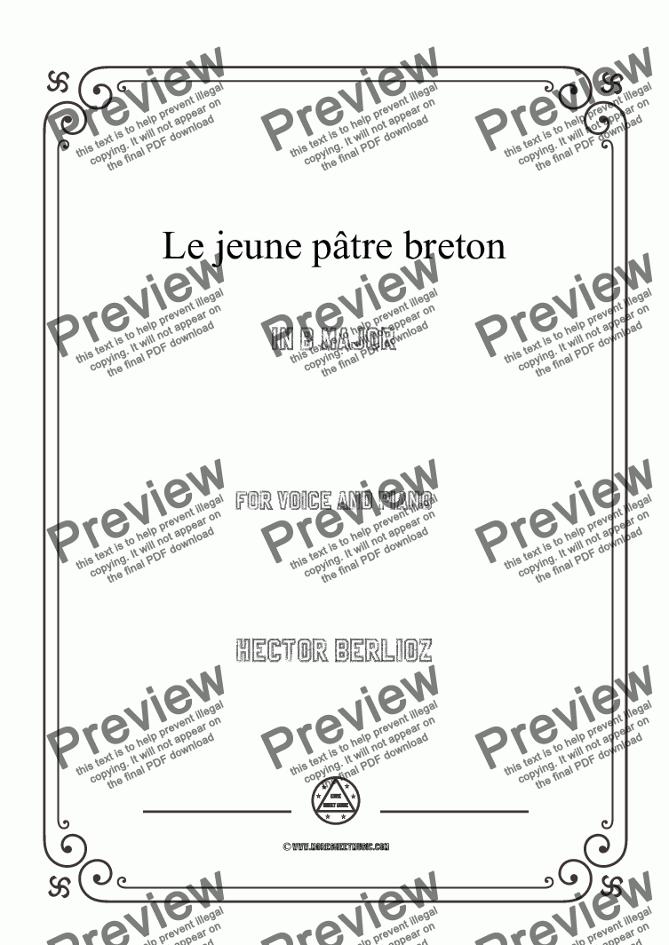page one of Berlioz-Le jeune pâtre breton in B Major,for voice and piano