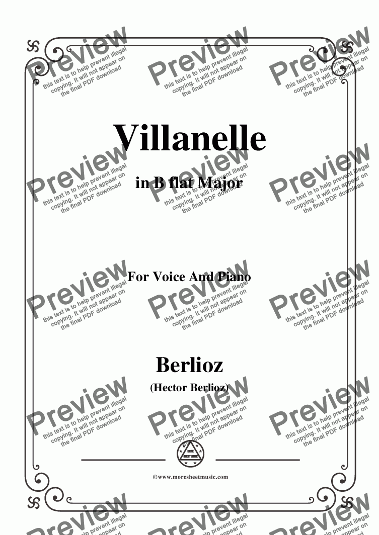 page one of Berlioz-Villanelle in B flat Major,for voice and piano