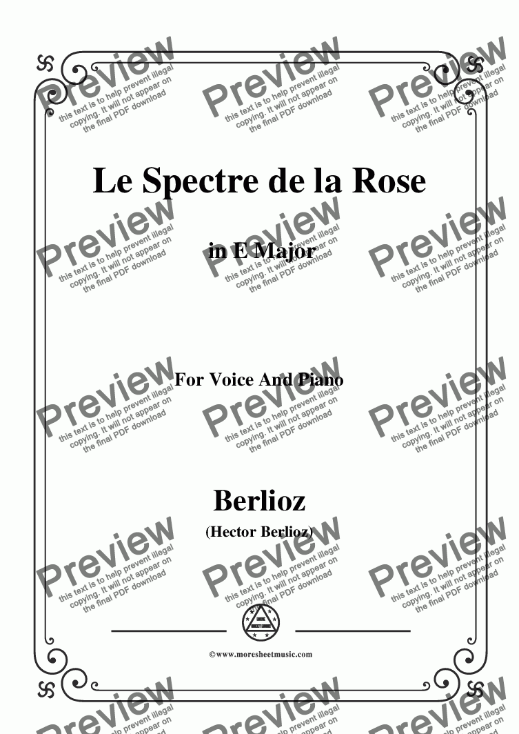 page one of Berlioz-Le Spectre de la Rose in E Major,for voice and piano