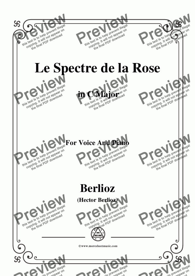 page one of Berlioz-Le Spectre de la Rose in C Major,for voice and piano