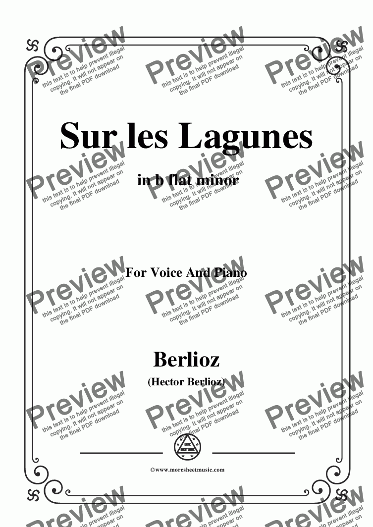 page one of Berlioz-Sur les Lagunes in b flat minor,for voice and piano