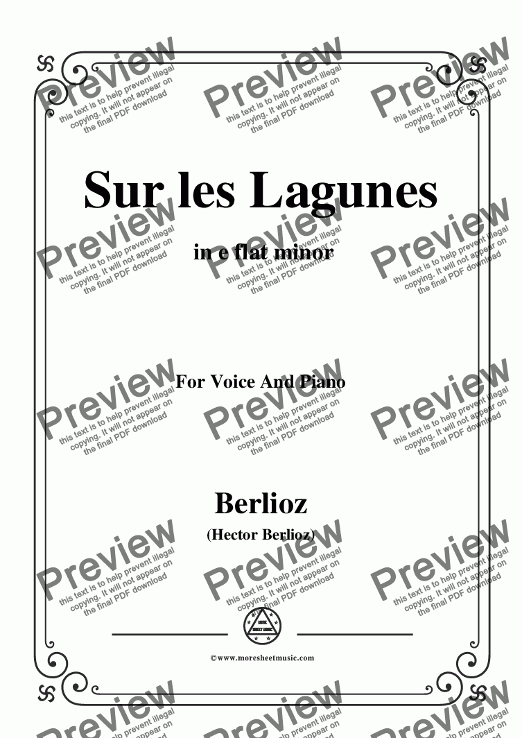 page one of Berlioz-Sur les Lagunes in e flat minor,for voice and piano