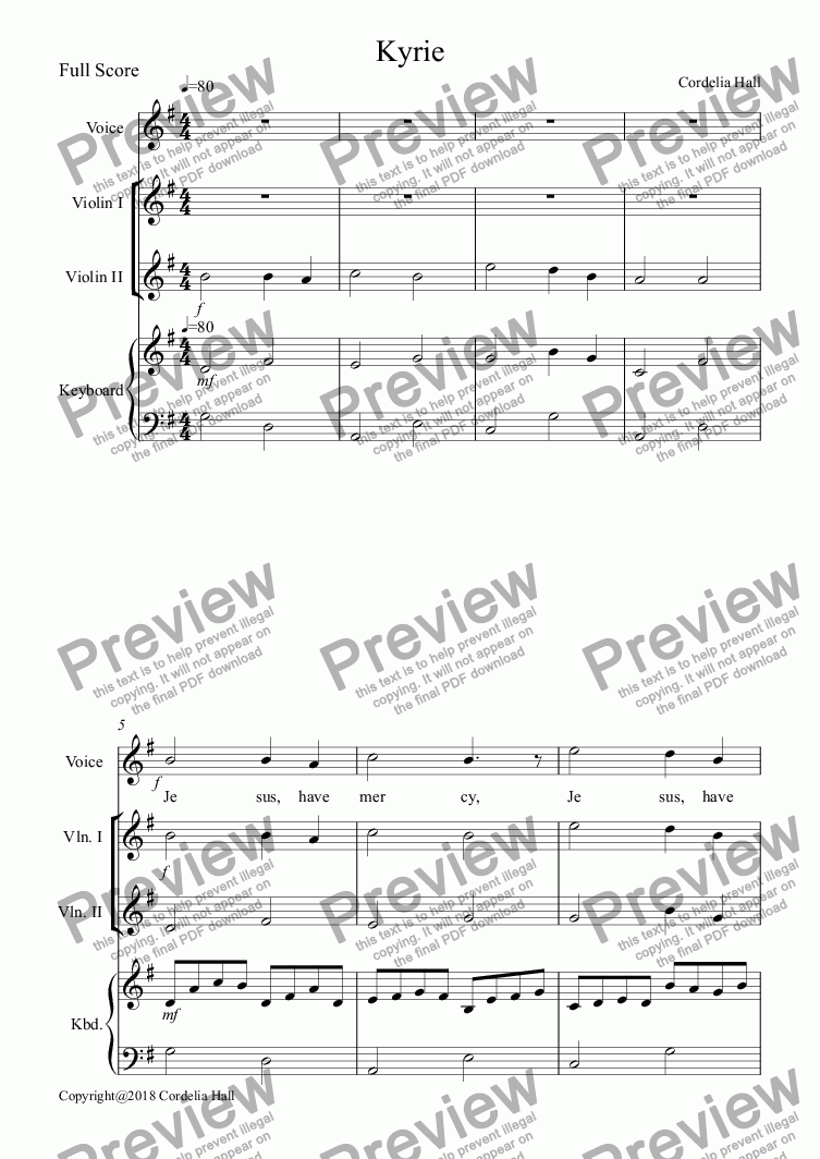 page one of Kyrie (for Voice, 2 Violins, Keyboard)
