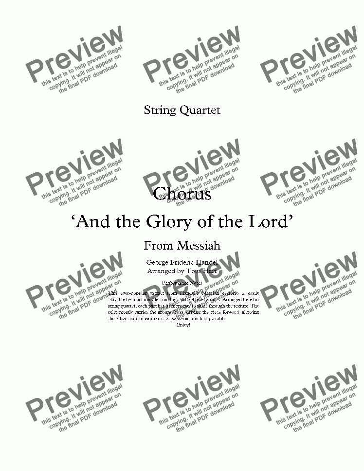 page one of The Glory of the Lord - String Quartet