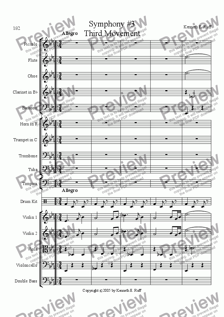 page one of Symphony #3 in Eb Major 3rd Movement