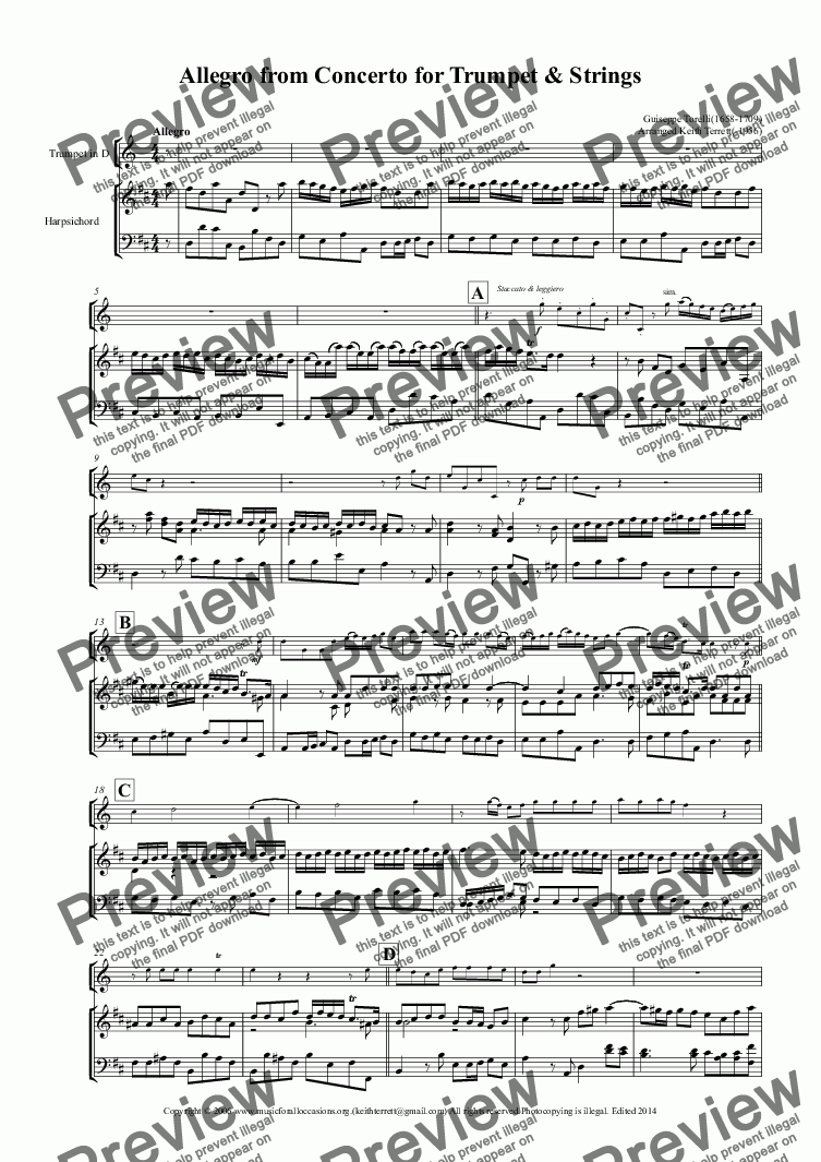 page one of Allegro from Torelli's Concerto (Professional Version in D) for Trumpet  & Harpsichord