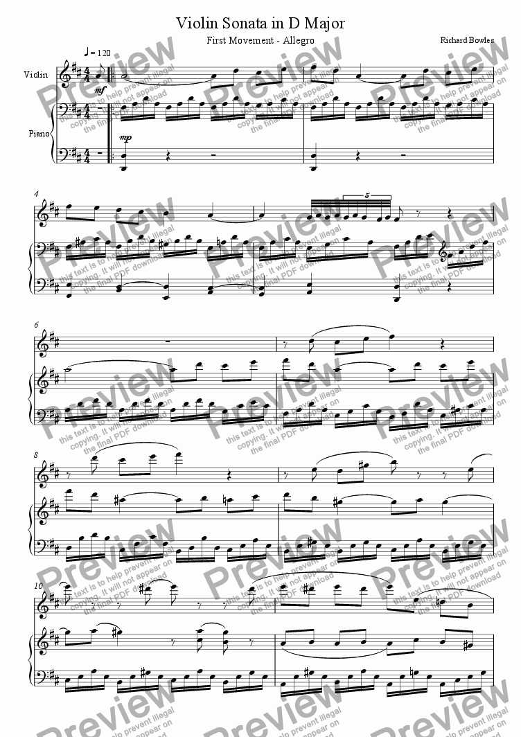 page one of Violin Sonata in D Major, First Movement