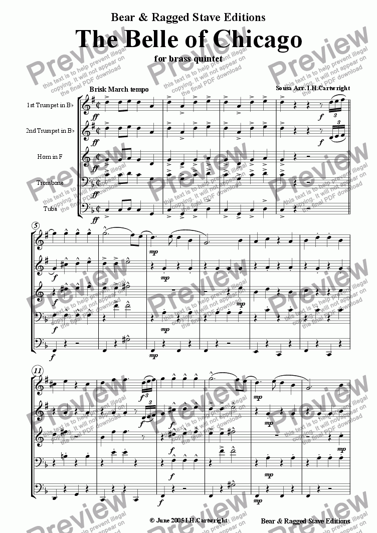 page one of The Belle of Chicago march for brass quintet