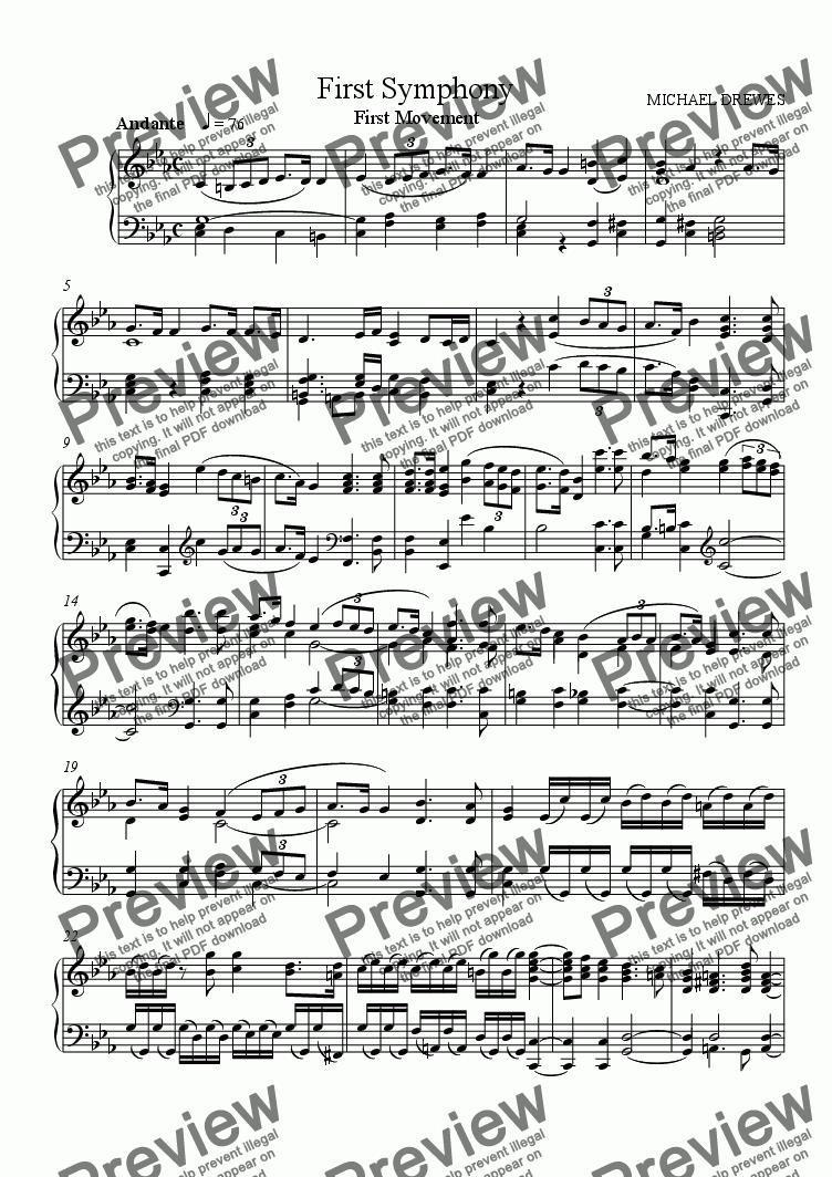 page one of Symphony No. 1, Movement 1 (Piano Reduction)