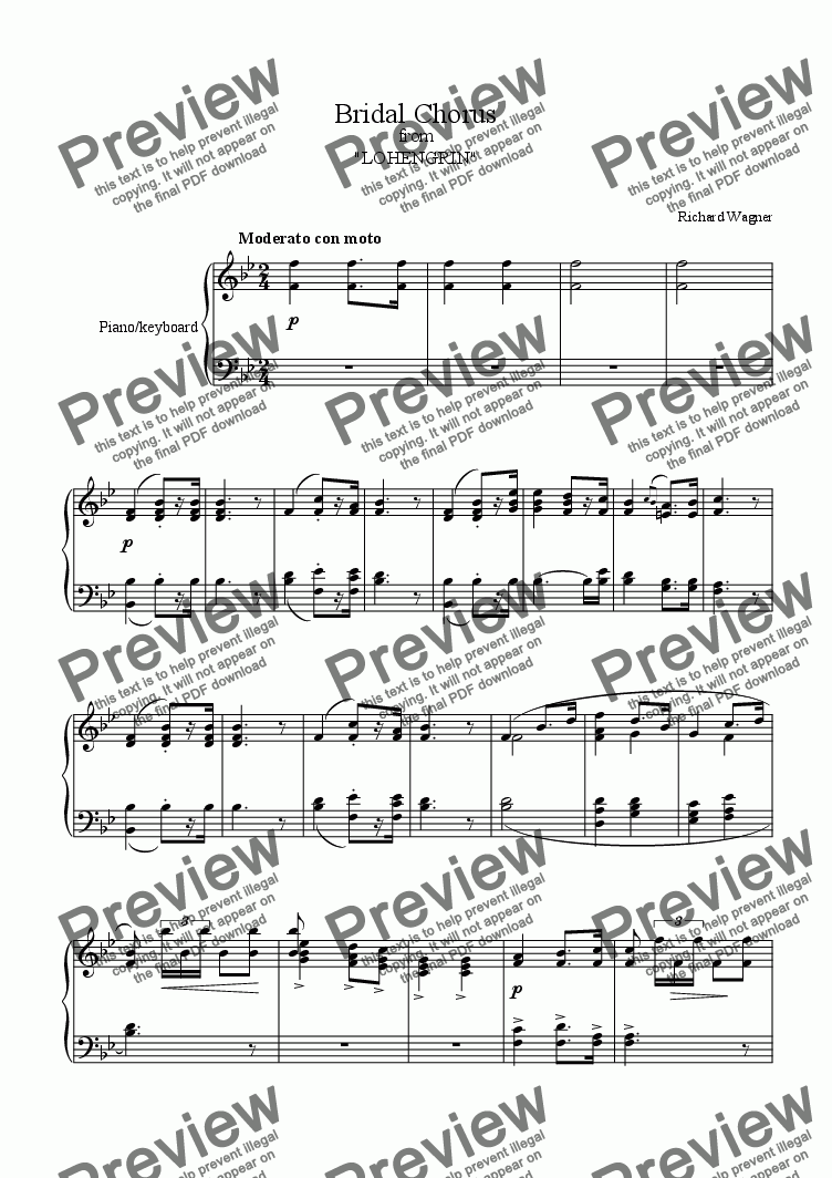"page one of ""Bridal Chorus"" -Here comes the bride! -Royalty Free Sheet Music Download"