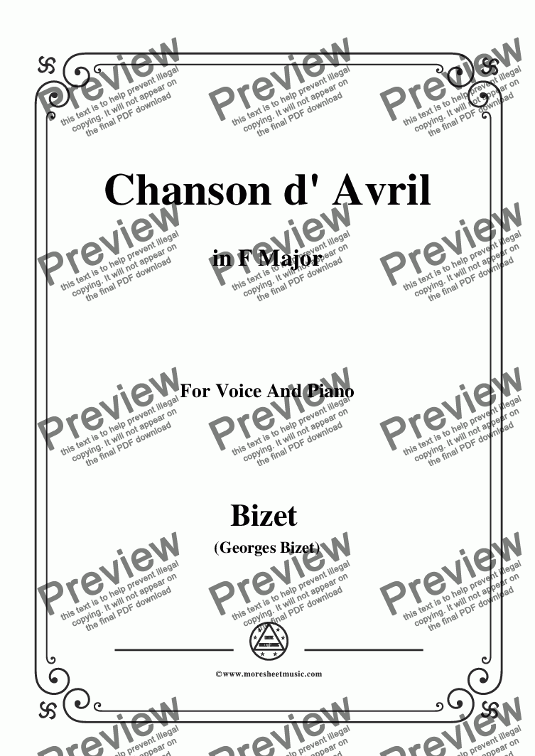 page one of Bizet-Chanson d' Avril in F Major,for voice and piano