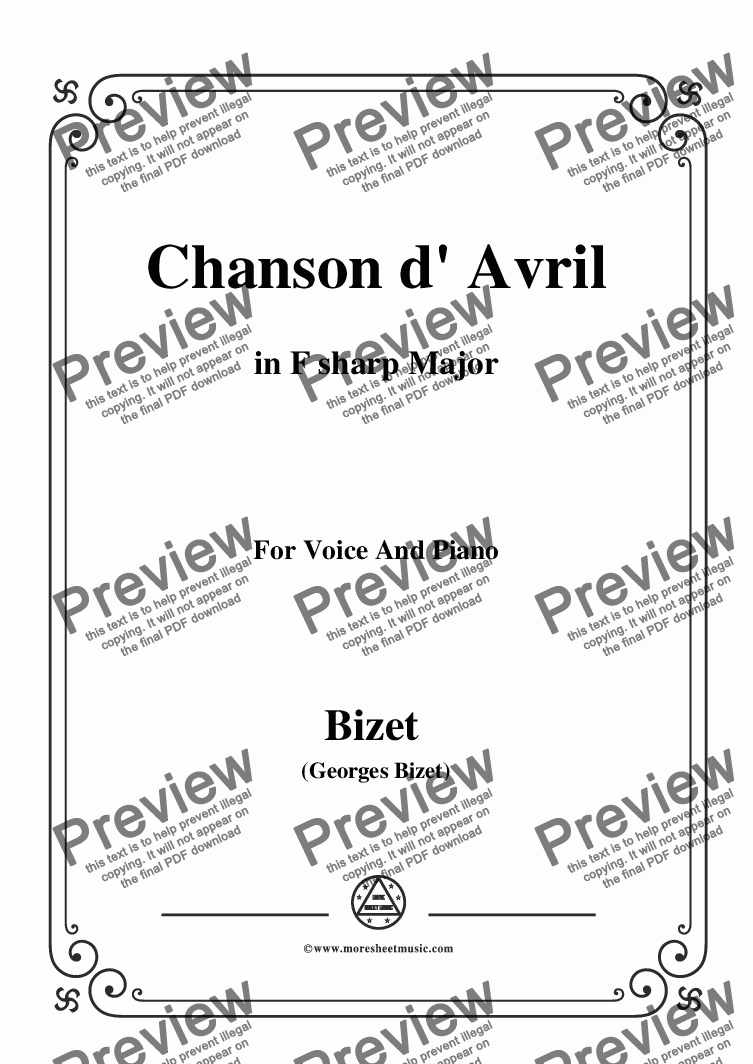 page one of Bizet-Chanson d' Avril in F sharp Major,for voice and piano