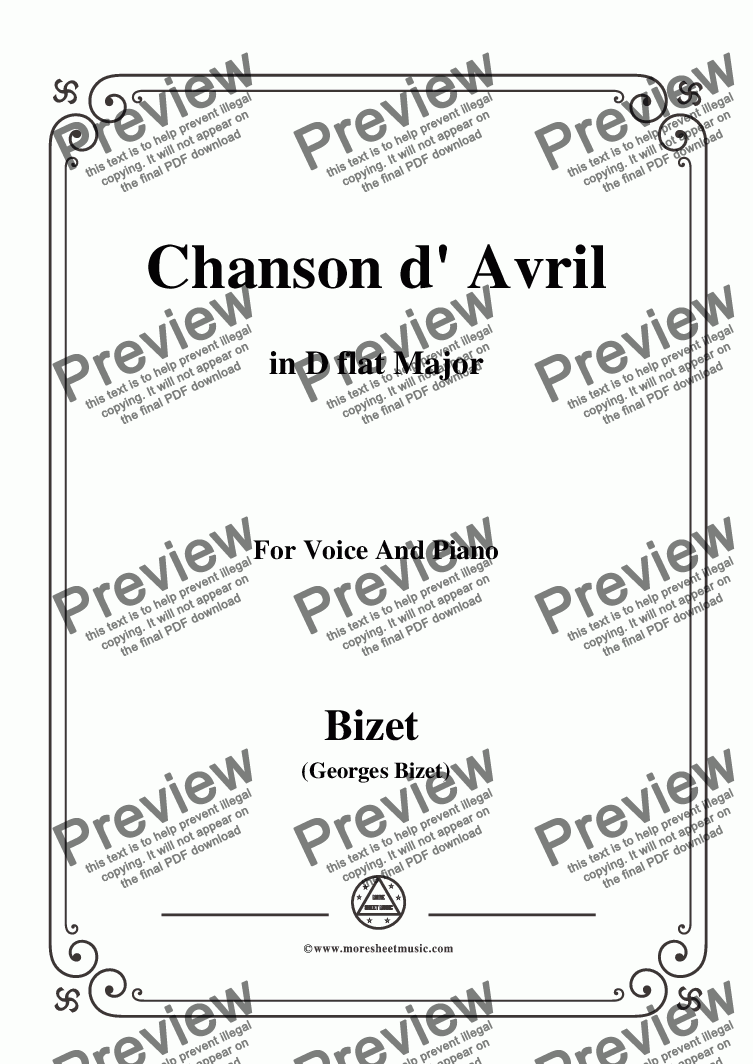 page one of Bizet-Chanson d' Avril in D flat Major,for voice and piano