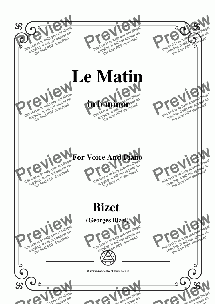 page one of Bizet-Le Matin in b minor,for voice and piano