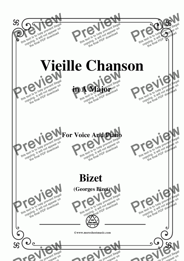 page one of Bizet-Vieille Chanson in A Major,for voice and piano