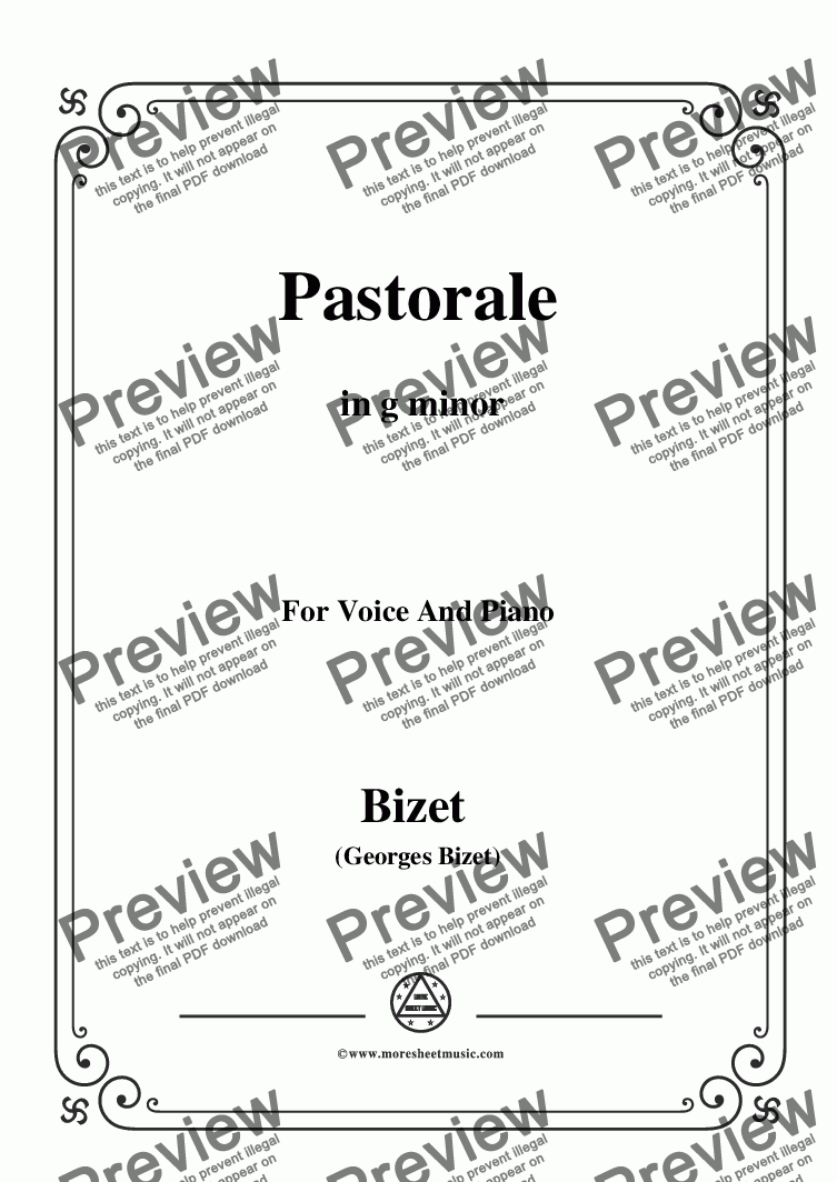 page one of Bizet-Pastorale in g minor,for voice and piano
