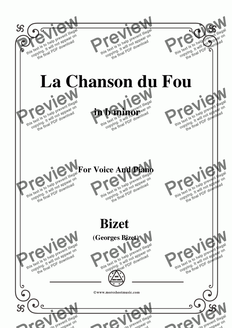 page one of Bizet-La Chanson du Fou in b minor,for voice and piano