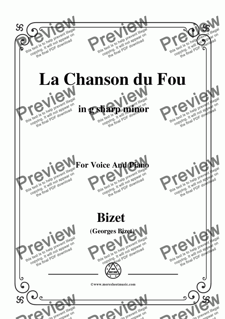 page one of Bizet-La Chanson du Fou in g sharp minor,for voice and piano