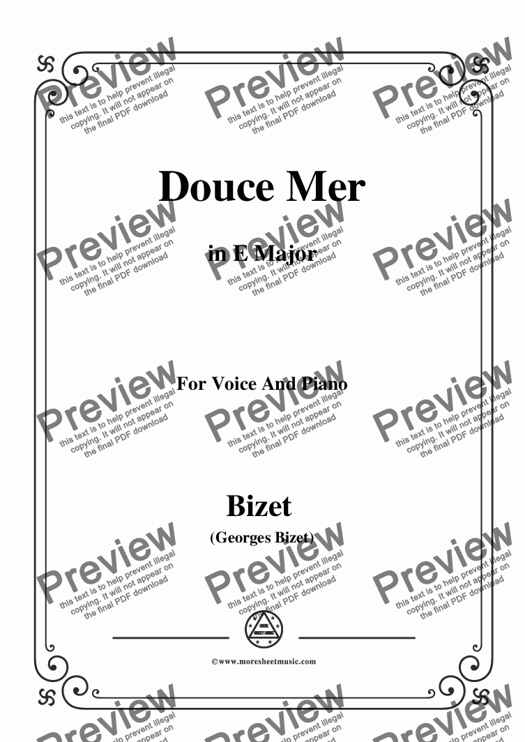 page one of Bizet-Douce Mer in E Major,for voice and piano
