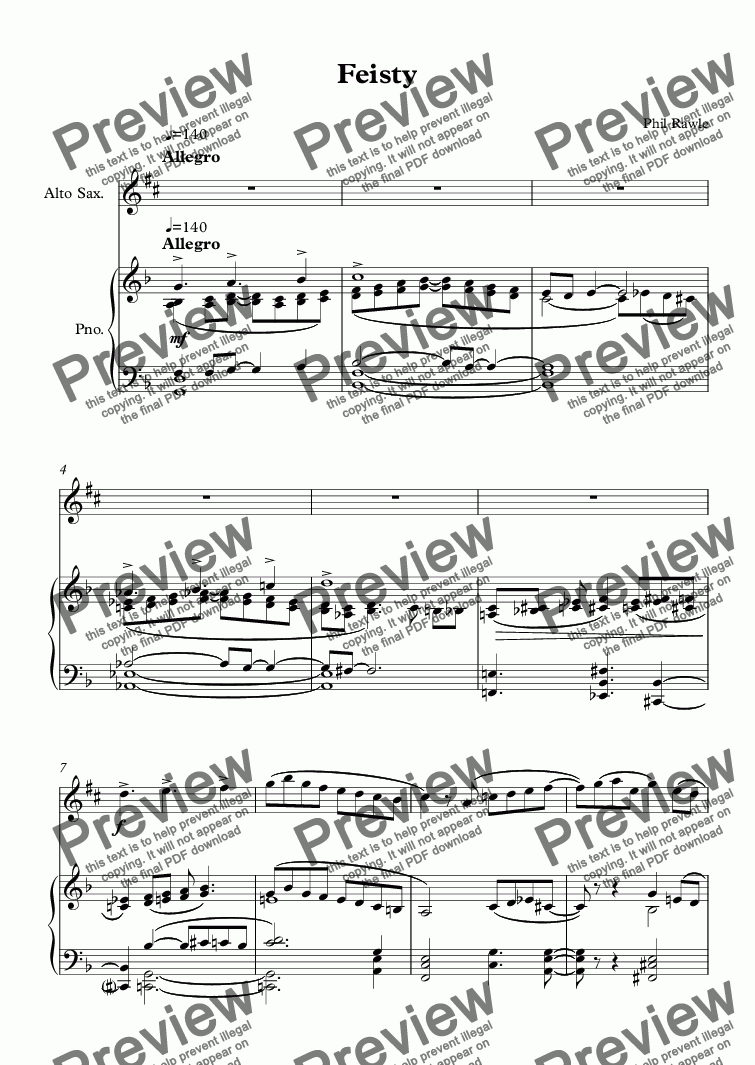 page one of Feisty - Alto Sax & Piano