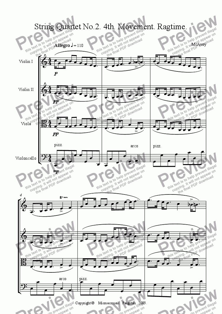 page one of String Quartet No.2. 4th. Movement. Ragtime.