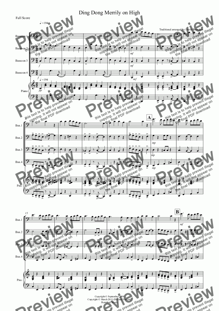 page one of Ding Dong Merrily on High (Jazzy Style!) for Bassoon Quartet