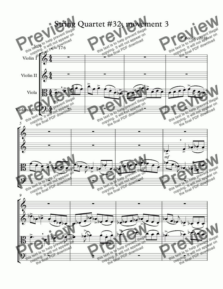 page one of String Quartet #32, movement 3