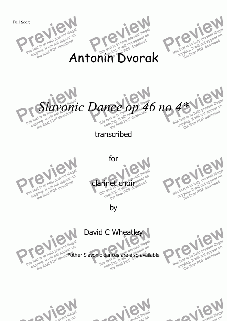 page one of Dvorak - Slavonic Dance op 46 no 4 for clarinet choir transcribed by David Wheatley