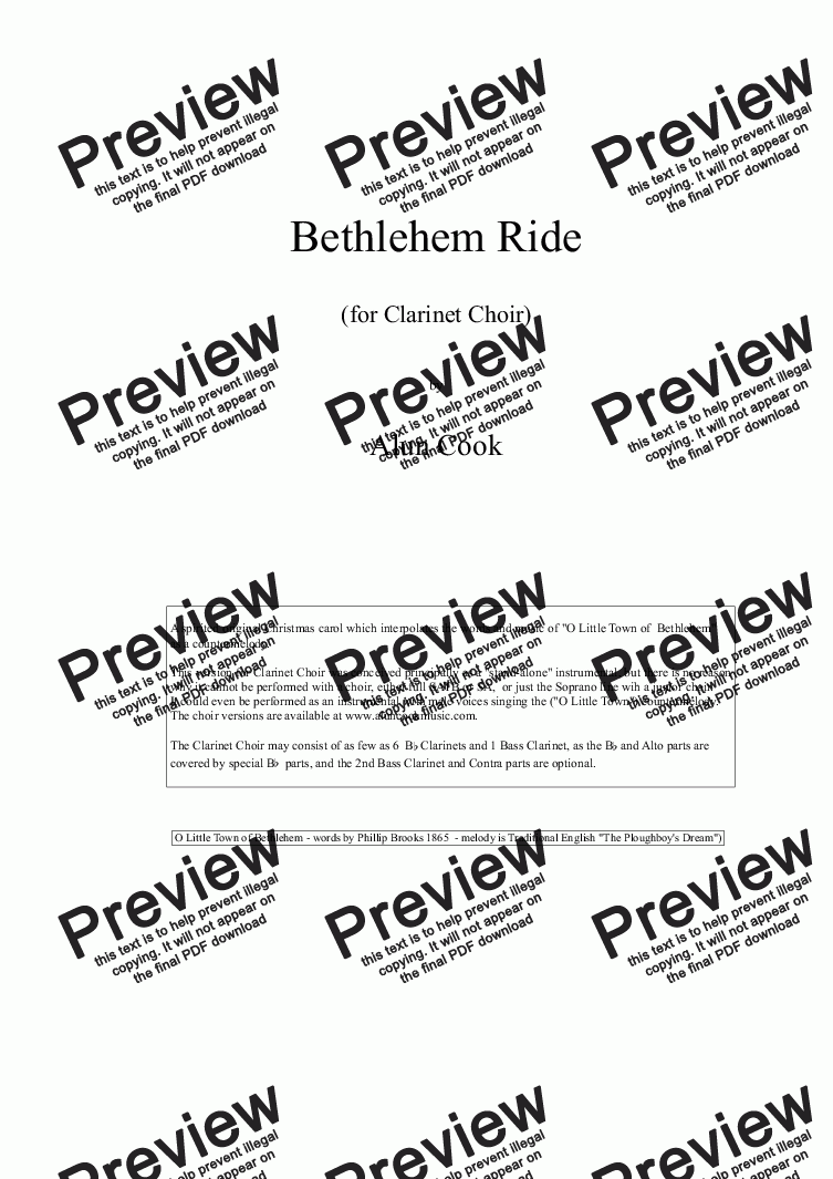 page one of Bethlehem Ride (Clarinet Choir)