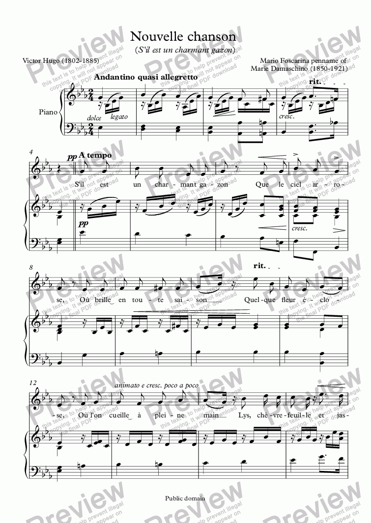 page one of Nouvelle chanson  (Mario Foscarina / Victor Hugo)
