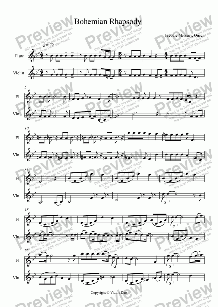 page one of Bohemian Rhapsody