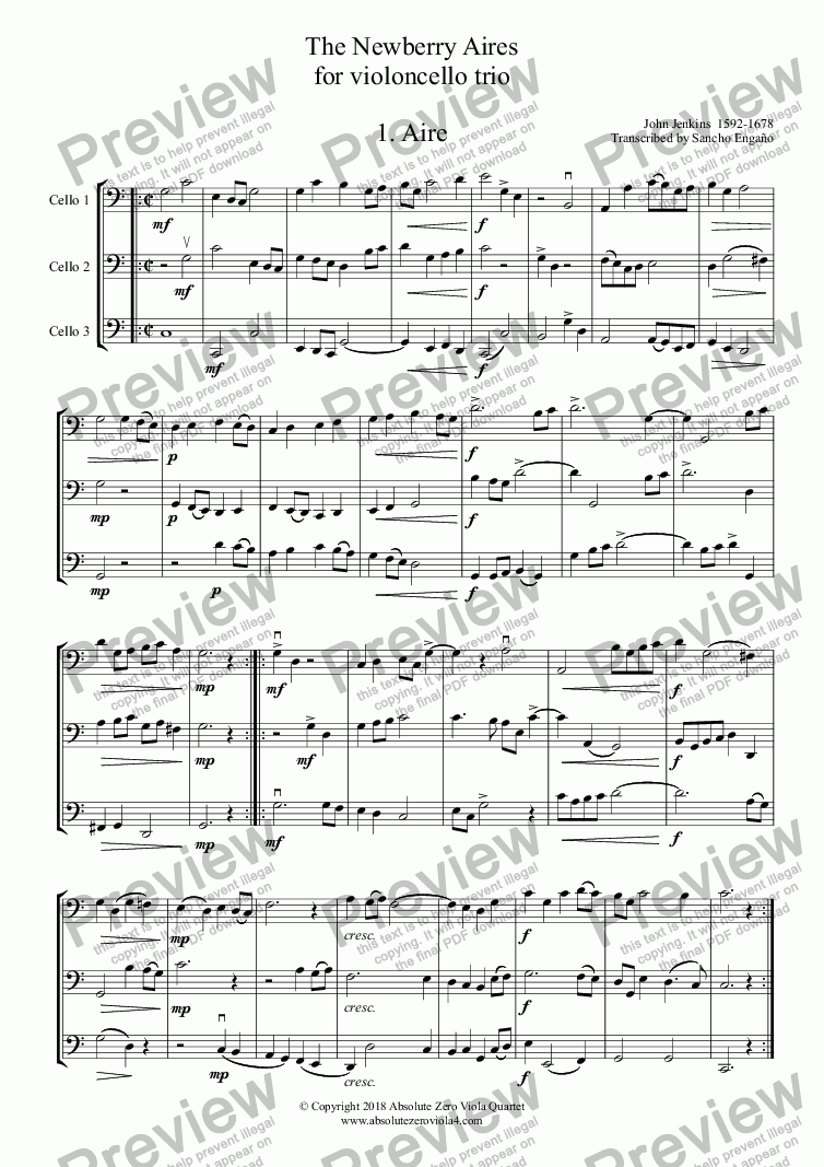 page one of Jenkins - The Newberry Aires for cello trio