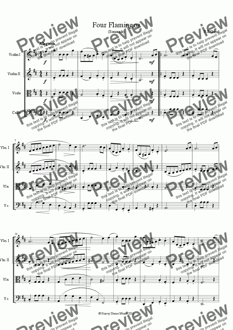 page one of Four Flamingos (classical style string quartet)