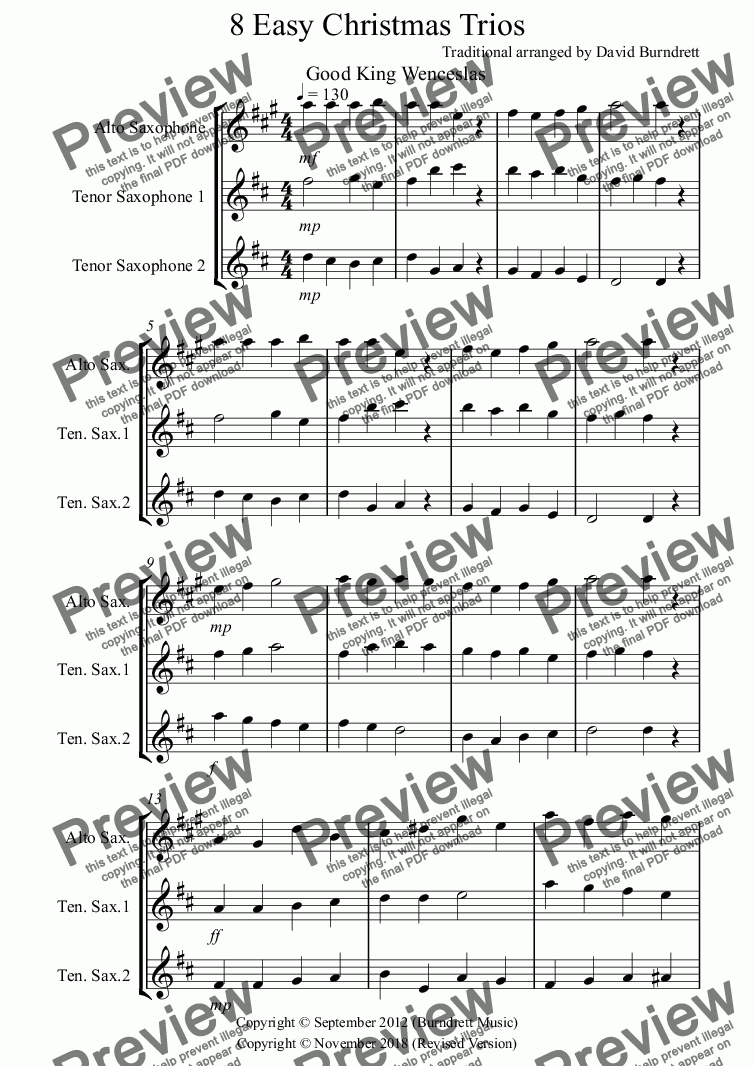 page one of 8 Easy Christmas Trios for Saxophone