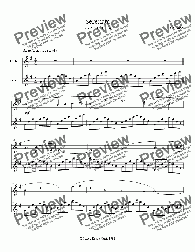page one of Serenata for Flute and Guitar