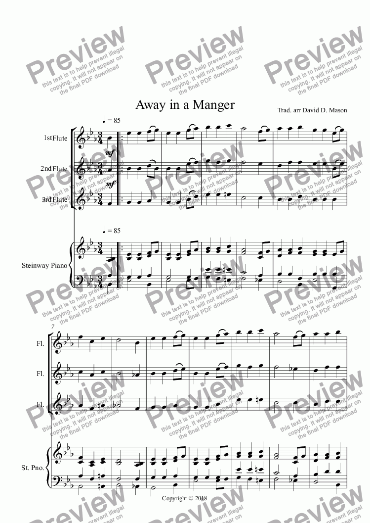page one of 10 Christmas Carols for Flute Trio and Piano