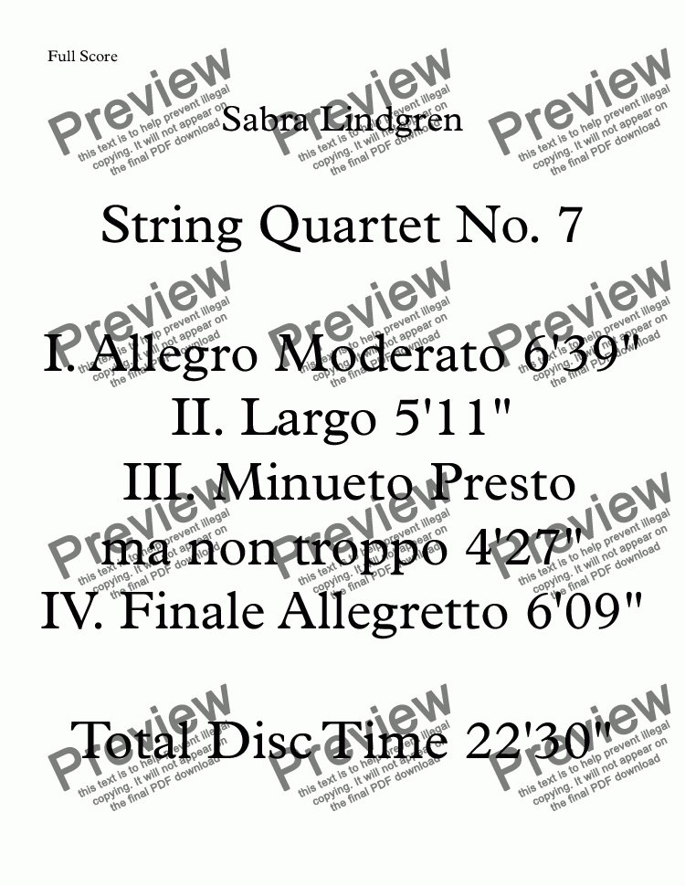 page one of String Quartet No. 7  III. Minueto Presto ma non troppo