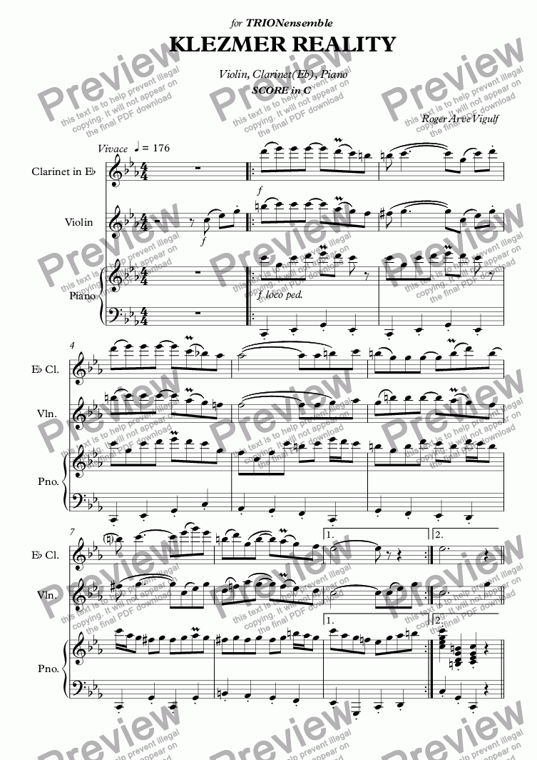 page one of Vigulf - Klezmer Reality score in C - Full Score
