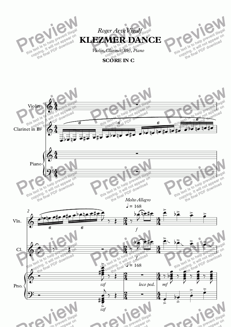 page one of Vigulf KLEZMER Dance - Full Score