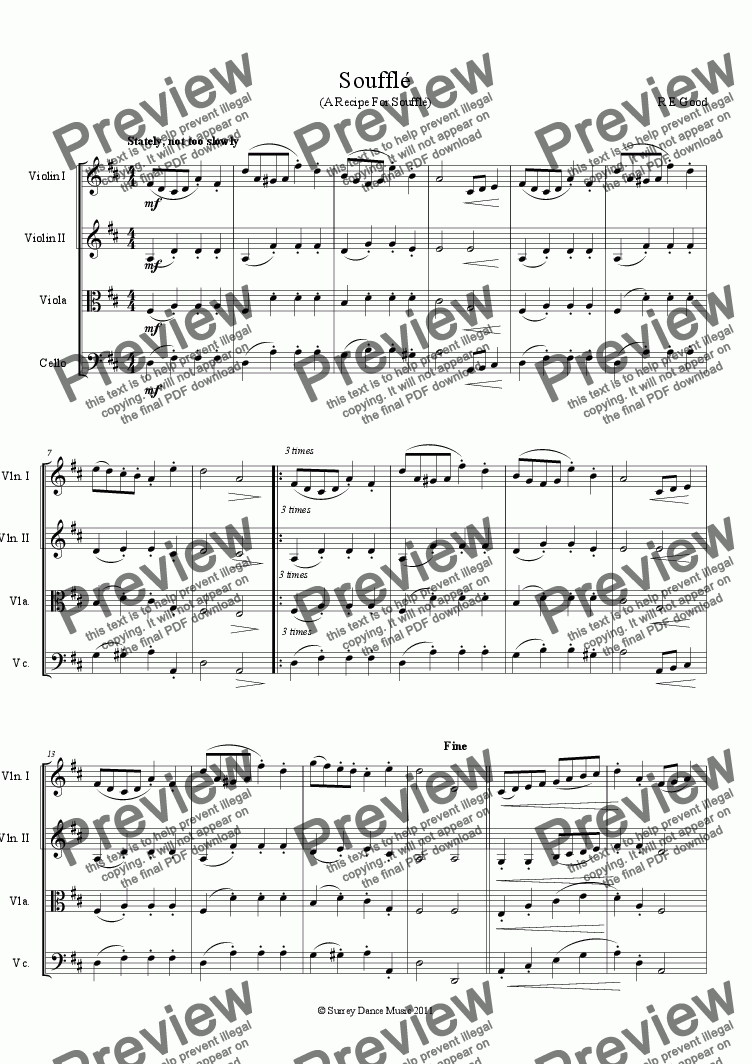 page one of Soufflé (classical style string quartet)