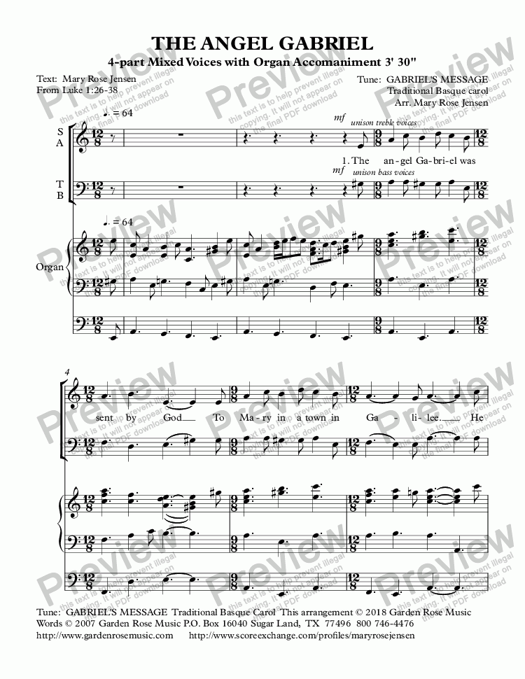 page one of The Angel Gabriel  (GABRIEL'S MESSAGE) Choir with Organ Accompaniment